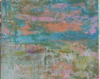 """Abstract  Art Original   teals Blues Pinks Greens  """"Beach Series"""""""