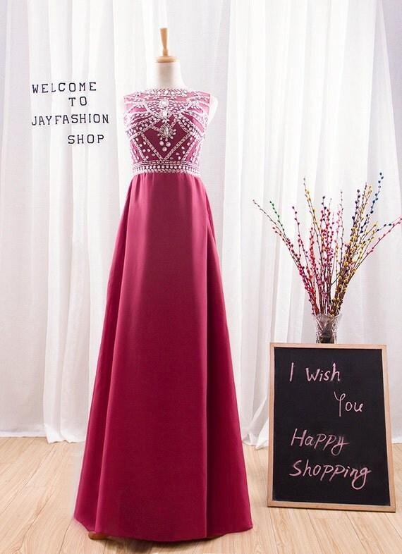 2017 Long Dark Red Prom Dress,Fashion Crystal Formal Dress,Round Neck Floor Length Bridesmaid Dress,Transparent Backless Evening Dress