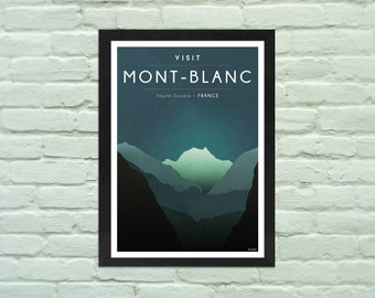 Mountain Art Print : Visit Mont-Blanc, mountain wall art, Alps poster, mountain art, ski, chamonix, mountain poster, instant download