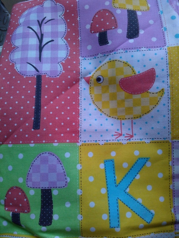 Fabric white green purple red yellow animals birds for Purple nursery fabric