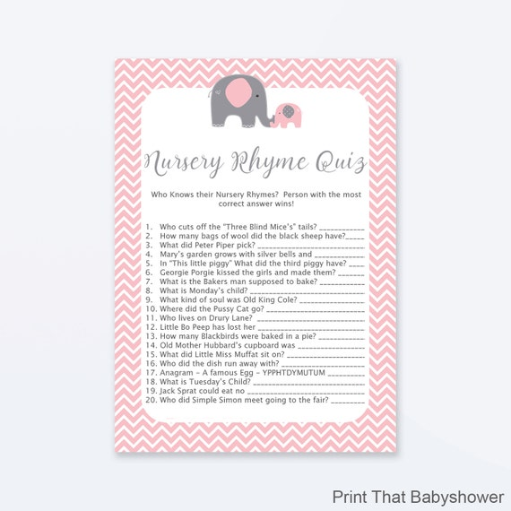 baby shower games nursery rhyme quiz game pink elephant baby shower elephant shower