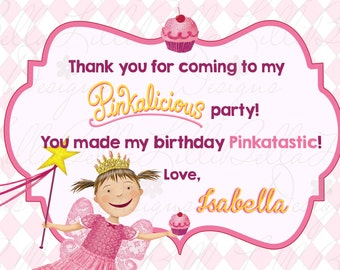 Pinkalicious Birthday Party Thank You - Pink Party - Pinkalicious - Thank You Note - Digital Printable File