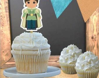 Cupcake Toppers - Set of 12 - Prince Naveen Princess and the Frog Theme