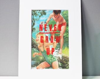 NEVER GROW UP - screenprint - vintage books - typographic - motivational - flouro red