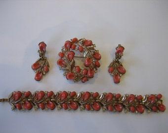 Vintage Signed Crown Trifari Set of Four Coral Enamel Rhinestone Parure