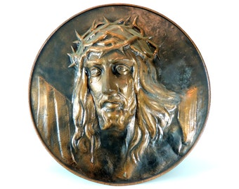 French Vintage Copper Christ Plaque/ French Religious Christ Plaque/Christ Copper Wall Plaque