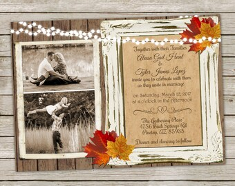 Fall Wedding Invitation over Wood with Fall Leaves - 5x7