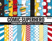 "Superhero digital paper pack ""Comic-Superheroes"", with comic backgrounds to use in scrapbook, card making..."
