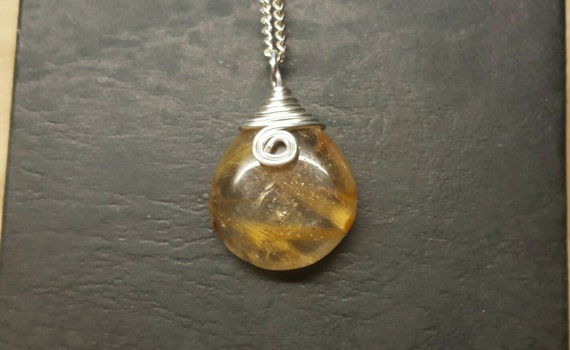 Golden rutilated quartz pendant angel hair quartz necklace for Golden rutilated quartz jewelry