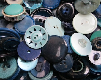 Blue Buttons.  100g blue buttons, bulk buttons, craft supplies