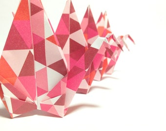 CUSTOM Origami Mobiles, Geometric Pattern, Pink Paper Cranes, Mobiles for Adults, Origami for Kids & Babies, Bird Mobile, Hanging Mobiles