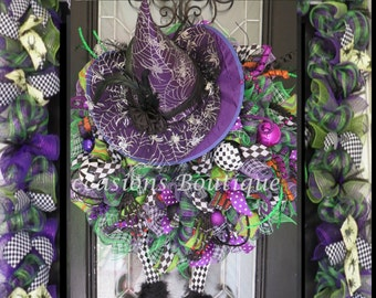 Halloween Wreath with Door Garland, Halloween decoration, Halloween Party Decor, XL Halloween Wreath, Witch Wreath
