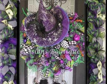 Halloween Wreath with Door Garland, Halloween decoration, Halloween Party Decor, XL Halloween Wreath, Witch Wreath