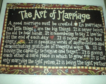 The Art of Marriage Canvas Print Wall Art  - Canvas size 23 x 31cm - Hand Made