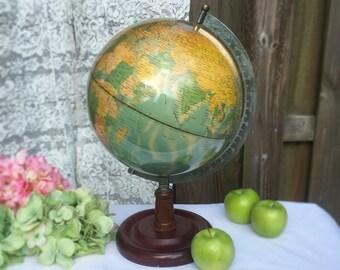 "Vintage Old World globe, 10"", Desktop, office decor, geography, desk, USSR, retro, Vinyl"