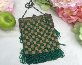 Antique Green Beaded Mesh Purse, Art Deco, Checker Checked Vintage, 1920's, Flapper, Gatsby, fringe, handbag, evening bag, Downton Abbey