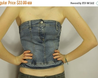 ON SALE Light Blue Denim Corset Top Side Zipper Corset Tube Top Bustier Small Size