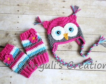 Crochet Owl Hat, Baby Hot Pink Gray Owl Beanie Girls Owl Hat and Matching Leg Warmers Set Hot Pink Gray Turquoise Owl Hat