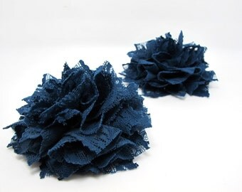 3 15/16 Inches Pleated Lace Flower|Navy Lace Flower Applique|Hair Supplies|Decorative Flower|Scrapbook Embellishment