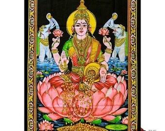 Lakshmi On Her Lotus - Wall Hanging/Throw