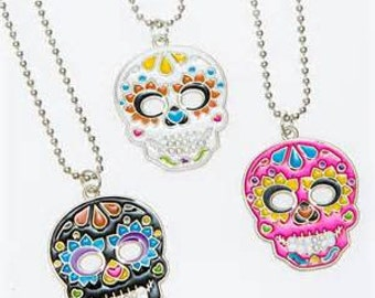 Day of the Dead Dia De Los Muertos Sugar Skull Necklace