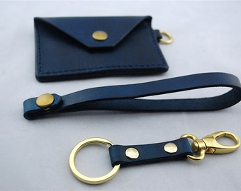 Navy Blue Leather minimalist wallet with wristlet and key chain/key fob, hand stitched and dyed, small wallet, veg tanned leather
