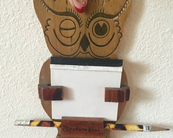 "Vintage 1970s ""The Wise Old Owl"" Hanging Notepad Organizer"