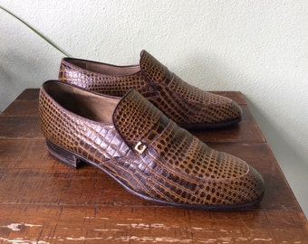 Vintage leather mens shoes, size 10, 1980s dress shoes, Winsome shoes brand