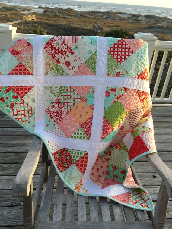 Baby girl quilt, Toddler girl quilt, Spring lap quilt