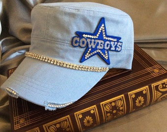 Cowboys, Dallas Cowboys, Dallas, Blue Cadet Hat,  Bling Hat, Cadet Hats, Womens Hat, Swarovski Crystal Hat