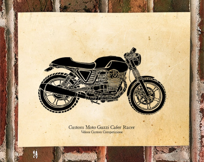 KillerBeeMoto: Limited Print Vintage Veloce Custom Competizione Moto Guzzi Cafe Racer Motorcycle Print 1 of 50