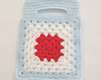 satchel, crochet tote, girls tote, playtime carry tote bag, granny square bag, totes, bags, purse, tote bag, kidswear,