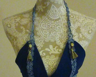 FESTIVAL FASHION HALTER Bra - Denim Beads Blue - Free Shipping - Petite - Small