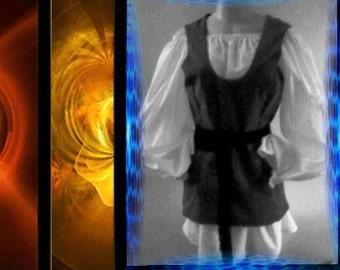 2PC MIDIEVAL HIP-LENGTH  Peasant Vest - A Renaissance Faire Favorite - Brown