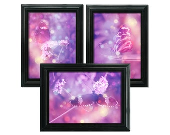Fine Art Prints, Pink Butterflies Set of Three, 7x5 inch Prints, Archival Watercolour Paper, Fairytale Bokeh