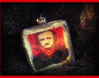 Edgar Allen Poe Glass Ornament -