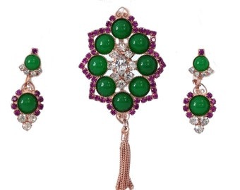 Vtg Juliana D&E Demi Parure Pink Green Rhinestones Green Cabochons Book Piece