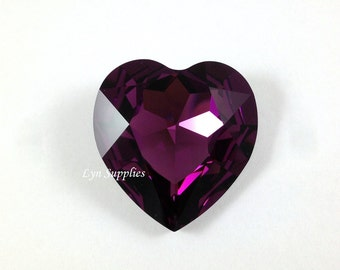 4827 AMETHYST 28mm Swarovski Crystal Heart Fancy Stone No Hole