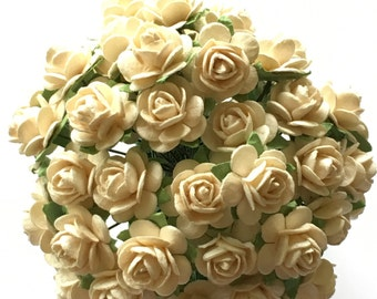 50 Cream Mulberry Paper Roses 10mm (1 cm)