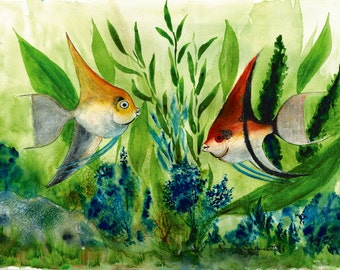 Fish # 1. Set of 8 Note Cards and Framed Wall Art. Reproductions of original watercolor paintings. Angel Fish.  Gold Fish.  Orange Fish.
