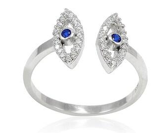 Sideways Evil Eye Ring Solid 925 Sterling Silver Round Diamond Clear White CZ Deep Blue Sapphire Evil Eye Jewelry Evil Eye Ring Evil Eye