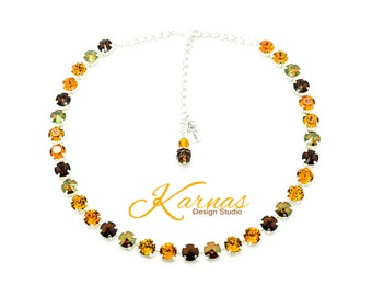 HARVEST DELIGHT 8mm Crystal Necklace Made With Swarovski Elements *Pick Your Finish *Karnas Design Studio *Free Shipping*