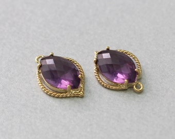 Amethyst Teardrop Glass Pendant . Polished Gold Plated . Brass Framed . 10 Pieces / G1038G-AM010