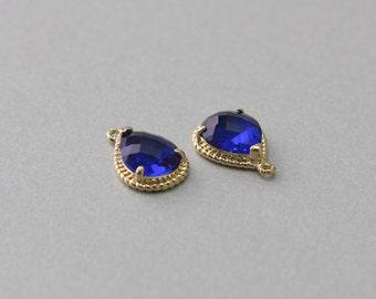 Cobalt Blue Teardrop Glass Pendant . Polished Gold Plated . Brass Framed . 10 Pieces / G1001G-CB010