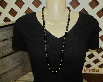 "Vintage Signed Trifari Black Lucite Goldtone Gold Tone Beaded Necklace 30"" length Make A Wish Donation"