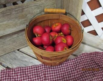 Vintage Mini Small Bushel Barrel Apples Fruit Basket with Apples