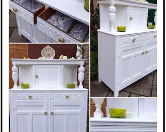Vintage White Sideboard - Shabby Chic Carved Dresser