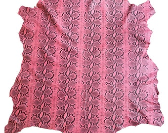 Fun Pink snakeskin printed genuine lambskin leather in full hides FS878-6