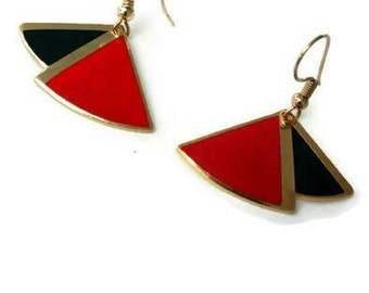 Vintage Red and Black Cloisonne Earrings