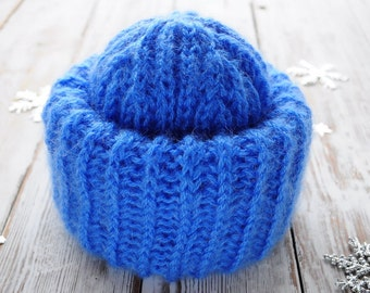 Blue Mohair Slouchy Hat. Winter Hat. Knit Womens Hat
